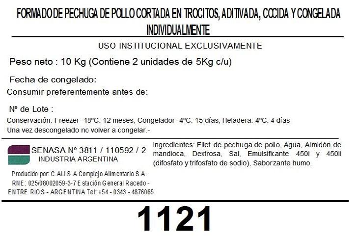 Trocitos 20x20 de Pechuga de Pollo cocida y congelada 1121 2