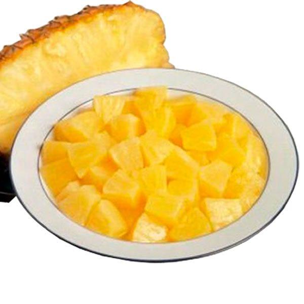 Ananá congelado IQF en cubos de 12x12mm.