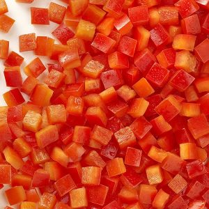 Pimiento morrón rojo en dados congelado