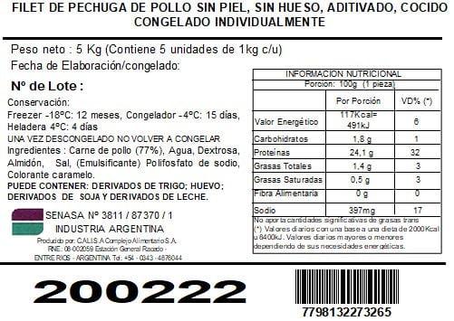 Filet de Pechuga de Pollo Chica cocido y congelado 1009